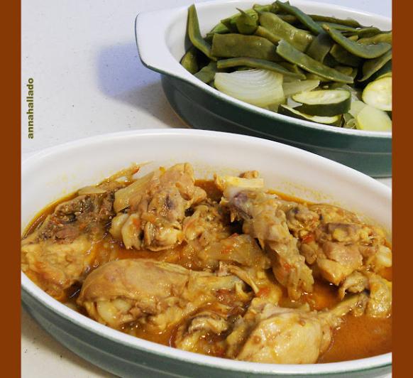 Verduras al vapor y pollo a la catalana. La cena de hoy y la comida de mañana