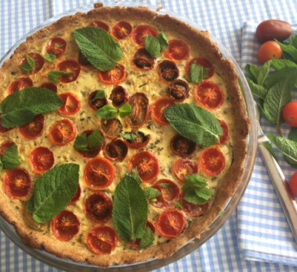 Quiche de tomates cherry,puerro y calabacin con Thermomix®